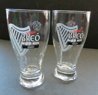 Lot of 2 Guinness BREO 8 Oz Beer Half Pint Drink Glass Barware Ale  (J)
