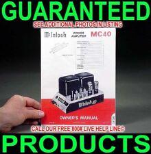 Mcintosh Mc-40 Mc40 Mono Tube Audio Power Amplifier Owners Manual Color B/W Copy