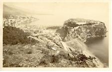 France, rocher de Monaco Vintage albumen print, Tirage albuminé  9x14  Cir