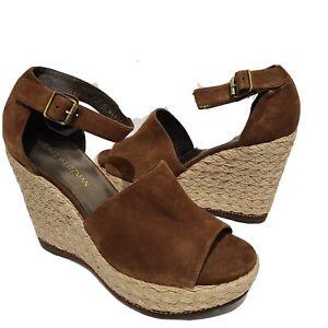 Stuart Weitzman women Sandals brown Espadrille Wedge Heel Shoes Sohojute sz 11.5