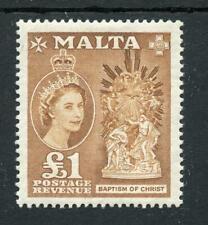 Malta 1956-58 £1 yellow-brown SG282 fine MLH