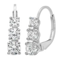 2.5 ct 3-Stone Round Dangle Leverback Past Present Future Earrings 14 White Gold
