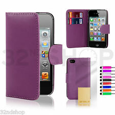 32nd Book Leather Wallet Case Cover Apple iPhone 5/5S + Screen Protector Stylus