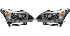 Pair Set of 2 Front Halogen Headlights Lamps Hella For BMW E60 E61 525i 545i