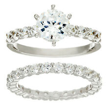 Diamonique Platinum Plated Sterling Silver Round 100 Facet Ring Set Size 6 QVC