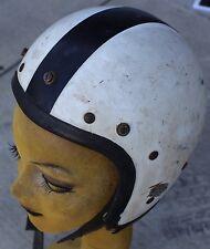 Vintage AVG White & Black Stripe Double Chin Strap Motorcycle Helmet