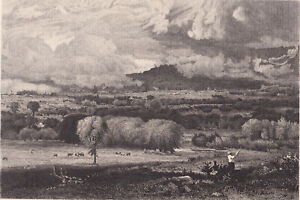 1887 museum exhibited George Inness framed engraving: The Saco River Valley