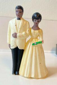 Vintage Plastic African-American Black Bride & Groom Wedding Cake Figurine