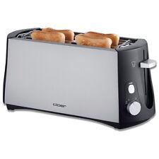 Cloer Toaster 3710 Silber-Schwarz wärmeisoliertes Gehäuse Brötchenaufsatz