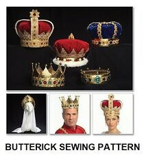 Butterick B5161 SEWING PATTERN KING QUEEN ROYALTY CROWN VEIL COSTUME UNCUT OSZ