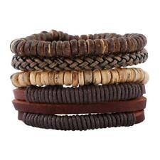 Lot de 4 Bracelets pour Homme Ado Garçon Style Rétro en Cuir perles coco Cadeau