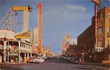 LAS VEGAS NV Fremont Street Scene Overland Hotel Nevada Vintage Postcard 1955