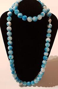 Dyed Quartz Stone Sky Blue Larimar Look 12mm Beads Necklace & Bracelet 150grams