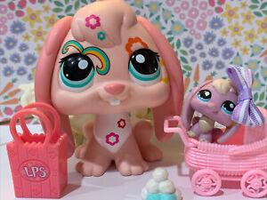 Littlest Pet Shop LPS Bunny Rabbit Jumbo Colorful 1705 Purple Blue Eyed Lot Rare