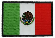 Mexico Flag Patch Black Border Mexican Flag Embroidered FAST USA SHIPPING