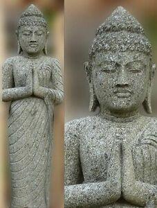 Buddha Naturstein 150 cm XXL Bali Buddha Lavastein Skulptur Steinfigur Garten