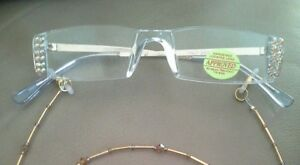 COLORADO TOPAZ AB CRYSTAL CRYSTALS READERS READING GLASSES NO CHAIN
