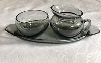 Turmalinglas? Rauchglas Glas Vintage 50er 60er Milch & Zucker Sahnegießer Set