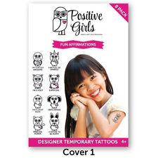 8 x Positive Girls Fun Affirmation Animal Temporary Tattoos for Kids #1