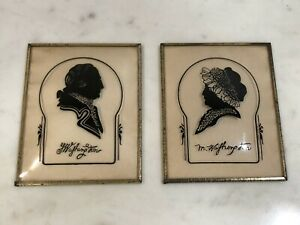 Pair of Vintage Convex Bubble Glass Silhouette Frames George & Martha Washington