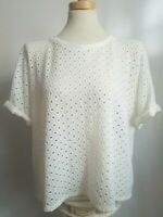 Anthropologie Postmark Women's Knit Top Medium Laser Cut Off White Short Sleeve