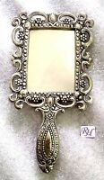 Lovely antique silver plated tone purse Mirror Vanity Makeup Style Hand Mirrors