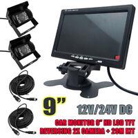 9'' LCD Car Rear View Monitor Kit Reverse Backup Night Vision Camera 20M Cable