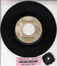 """NAT KING COLE Ramblin' Rose 7"""" 45 rpm vinyl record + juke box title strip"""