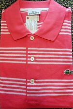 NEW MENS LACOSTE S/S CLUSTER SIX-STRIPE PIQUE POLO GOLF SHIRT, PICK COLOR & SIZE