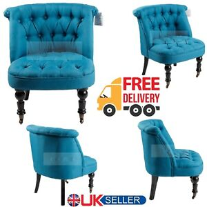 Antique Dark Blue Tub Chair Sofa Lined Polyester Fabric Lounge Bedroom Armchair.