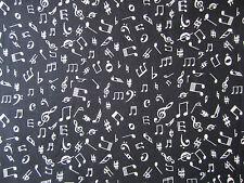 Notas musicales en Tela Negro - 100% Tela De Algodón Por Cuarto Gordo