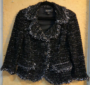 St. John Black Silver Metallic Tweed Evening Dressy Short Jacket Size 8 Blazer M