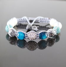 Damen Aqua Perlen Armband Armreif Rutilquarz Shamballa ,verstellbar für Frauen