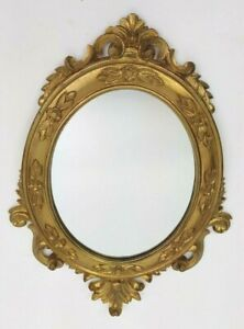 """VTG 14"""" Carved Wood MIRROR GOLD ITALY ORNATE Hollywood Regency Baroque Rococo"""