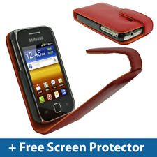Red Leather Flip Case for Samsung Galaxy Y S5360 Android Cover Holder Bumper