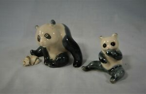 Vintage Chinese ceramic panda family of 3 circa 1950 retired