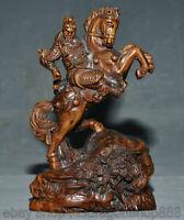 """7 """"bois de buis chinois sculpté Guan Gong Yu guerrier Dieu monter cheval Statue"""