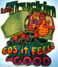 I like trucking, feels so good. 80s vintage retro tshirt transfer print new NOS