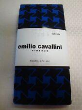 """NEW EMILIO CAVALLINI FIRENZE TIGHTS BLUE BLACK STARS 5'3""""-5'7"""" 100-143 LBS S/M"""