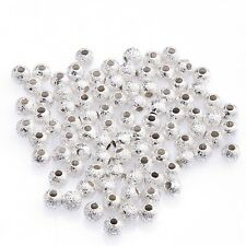 New 80/100Pcs Gold/Silver Plated Round Copper Stardust Ball Spacer Beads 3/4mm