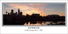 Poster Panorama Sunrise Indianapolis Skyline Panoramic Fine Art Print - RCA Dome