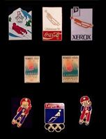 Set~Lot of 8 Olympic Pins~LUGE~NEW!!~Vintage Badge~Mascot/Sponsor~Winter Sports