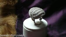 Cocktail Ring Sterling Silver size 6 Stunning Bold 2.5 cts Cz Cubic Zirconia