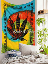 Multicolor Marijuana Leaf Tapestry Cannabis Hippie Decor Twin Weed Wall Hanging