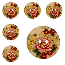 10Pcs LARGE Wooden Natural Buttons with Roses (with Floral Design) 30mm /1.18''