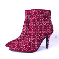 Fashion Women Lady Iridescent Rhinestone Faux-Suede Slim High Heel Ankle Boots