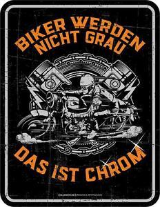 Blechschild 17 x 22, Biker grau, Werbeschild RAHMENLOS® Art. 3788