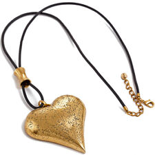 Burnished gold chunky textured large heart pendant black leather long necklace