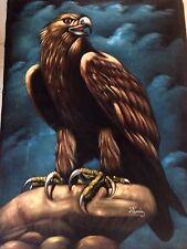 """Vintage Eagle Painting On Black Velvet Signed Well Done 25"""" X 36"""" No Frame"""