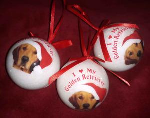 "New I Love My Golden Retriever Christmas Ball Ornament 2 Side 2.5"" lot 3 Pet Dog"